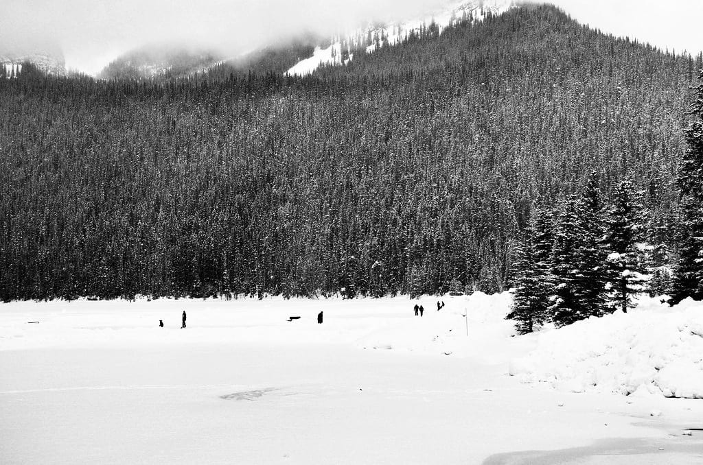 Ice hockey on Lake Louise