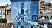 Trompe L'oeil Cartoon Mural in Angouleme, France