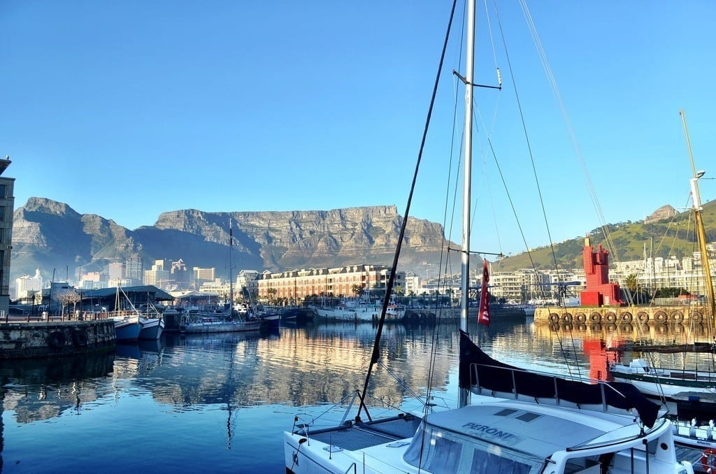 Table Mountain and the V&A Waterfront in Cape Town