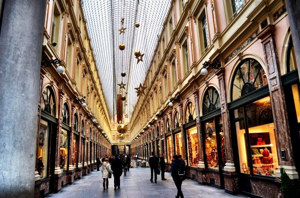 Walking through the Galeries Royales Saint-Hubert in Brussels