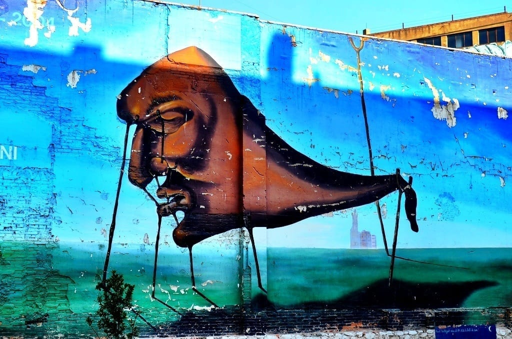 Dali Inspired Graffiti in Girona, Spain