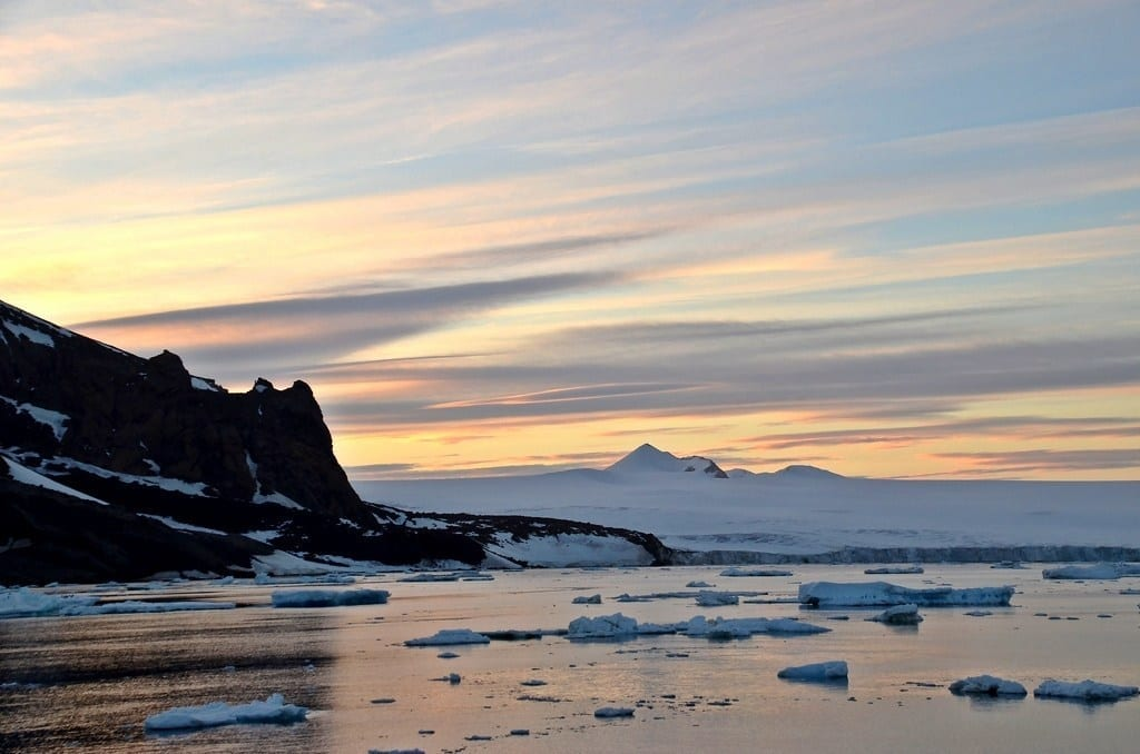 sunset antarctica
